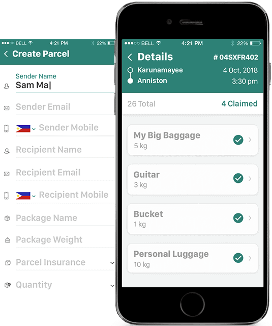 courier delivery app screen