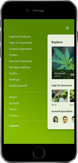 marijuana app screen