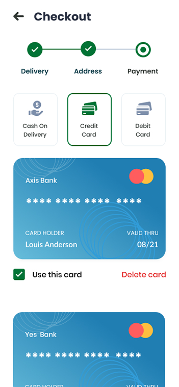 Ecommerce Delivery Screen