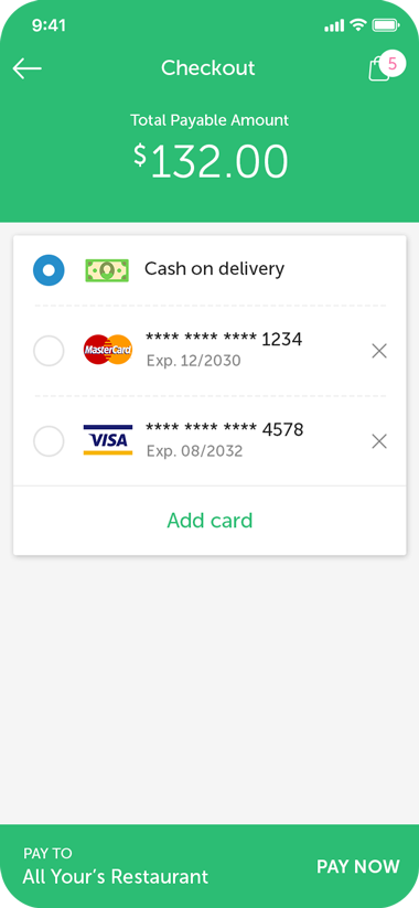 Food Delivery Customer Screen