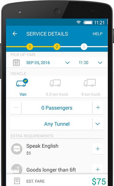 Go Go Van logistics & truck app development