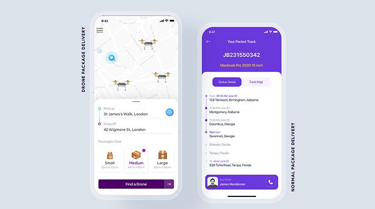 drone delivery app features